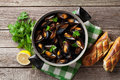Mussels and bread Royalty Free Stock Photo