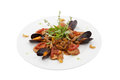 Mussels with chicken and baked tomatoes isolated clipping path Stock Image