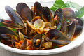 Mussels and clams close up view of nicely decorated on a plate Royalty Free Stock Photos