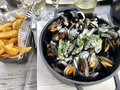 Mussels with French fries Royalty Free Stock Photo