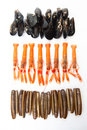 Mussels norway lobsters and razor shells varied seafood lobster over white background Stock Photos