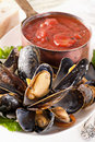 Mussels with tomato sauce Stock Photos