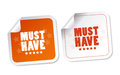 Must have stickers with soft shadow Royalty Free Stock Image