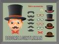 Mustache Bow Glasses Top Hat Gentleman Victorian Business Cartoon Icons Set English 3d Background Retro Vintage