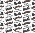 Mustache, Bow tie seamless patterns. Father s Day holiday concept repeating texture, endless background. Vector