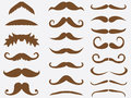 Mustache brown mustaches set illustrated on white Royalty Free Stock Photo
