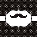 Mustache card black and white template Royalty Free Stock Images