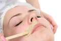 Mustache depilation beauty salon facial skin treatment and care Stock Image
