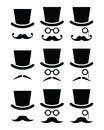 Mustache or moustache with hat and glasses icons set senior gentleman isolated on white Stock Images