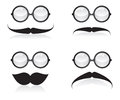 Mustache and sunglasses illustration on white background Royalty Free Stock Photo