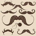 Mustaches set of hand drawn brown patterned Stock Images