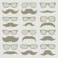 Mustaches set of isolated on white background vector illustration Stock Photography