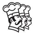 Mustachioed chefs set Stock Photo