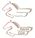 Mustang symbol design with horse for riding club Stock Photography