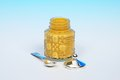 Mustard pot with spoon. Royalty Free Stock Photo