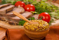 Mustard tomatoes meat horizontal Stock Images