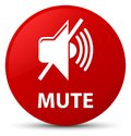 Mute red round button Royalty Free Stock Photo