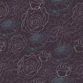 Muted dark pattern with sketched roses and peonies Royalty Free Stock Image