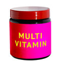 Mutli vitamins for body building. Container with sport nutrition Royalty Free Stock Photo