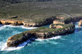 Mutton bird island aerial view of near port campbell at the great ocean road in the port campbell national park victoria australia Stock Photos