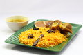 Mutton biryani lamb rice with roasted chicken Royalty Free Stock Photography