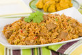 Mutton byriani lamb and rice cooked with spices served with raita traditional south asian cuisine Stock Photos