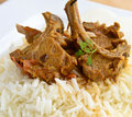 Mutton curry indian cuisine with rice Stock Photography