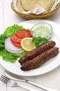 Mutton seekh kabab with mint chutney Royalty Free Stock Photos