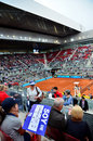 Mutua open madrid atmosphere in the tribune central court manolo santana people acclaiming novak djokovic at may Royalty Free Stock Photography