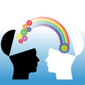 Mutual understanding conceptual illustration human heads Royalty Free Stock Photo