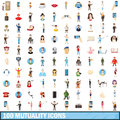 100 mutuality icons set, cartoon style