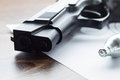 The muzzle of the air pistol and gas cylinder closeup on the tar Royalty Free Stock Photo