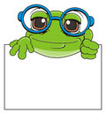 Muzzle of frog peek up from clean paper