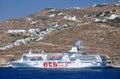 Mv aegean paradise docked in mykonos greece Royalty Free Stock Photography