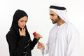 My arabian valentine an arab man declares his emotions with a rose Stock Photos