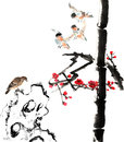 My art work from flower and bird the view of the plum blossom bamboo stone Royalty Free Stock Photography