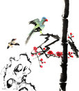 My art work from flower and bird the view of the plum blossom bamboo stone Royalty Free Stock Image