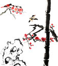 My art work from flower and bird the view of the plum blossom bamboo stone Royalty Free Stock Photo