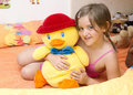 My best friend girl with a duck her friends Stock Photography