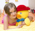 My best friend girl with a duck her friends Stock Photos