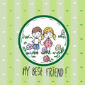 My best friend hand drawn greeting card Royalty Free Stock Images