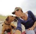 Mi perro y yo en playa