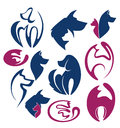 My favorite pets vector collection of animals sym symbols and icoms Stock Image