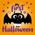 My first halloween- text, with cute baby bat and candys, and stars.