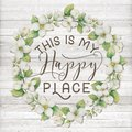 This is my Happy Place Cotton Floral Wreath with Wooden Shabby Chic Background