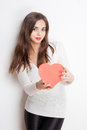 My heart cute young brunette beauty holding shaped box Royalty Free Stock Image