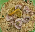 My life my passion my creations spinach and ham pesto fettuccine w chicken marco polo Stock Images