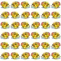 The Amazing of Cute Baby Chicken Slipping Illustration, Cartoon Funny Character in the Colorful Background, Pattern Wallpaper