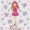My princess cute romantic shower card with cartoon flowers and hand drawn inscription vector illustration Stock Photography