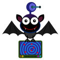 My radar illustration of a bat with a and wearing a helmet with a satellite dish Stock Images